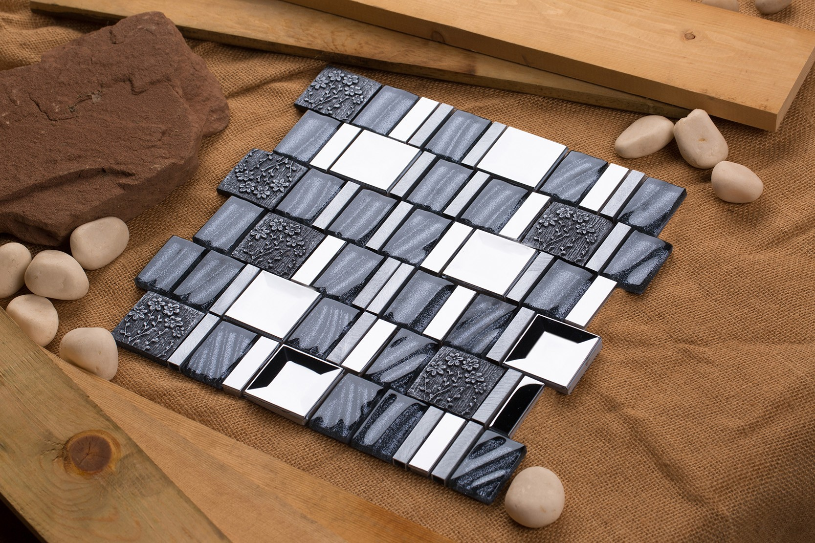 Mirrella Vitray Stainless Steel Hand Painted Ceramics Aluminum - 12x12 painted ceramic tile