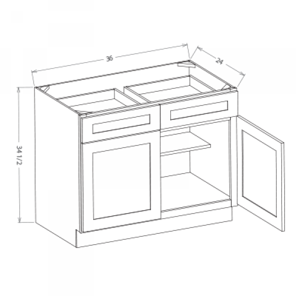 Base Kitchen Cabinets 2-Door, 2 Drawer (B33, B36)